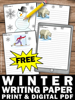 free printable winter writing papers for literacy center activities. Black Bedroom Furniture Sets. Home Design Ideas