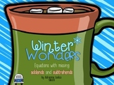 FREE ~ Winter Wonders: Equations with missing parts Sums to/Differences from 20