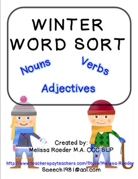 Winter word walls resources lesson plans teachers pay teachers adjectives free winter word sort nouns verbs adjectives sciox Gallery
