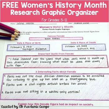 FREE Women's History Month Activity for Middle School