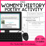 FREE Women's History Poetry Activity Print and Digital Dis