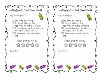FREE - Wonderful Writing Checklist
