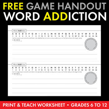 "FREE ""Word ADDiction"" Worksheet/Team Activity/Game, Print-"