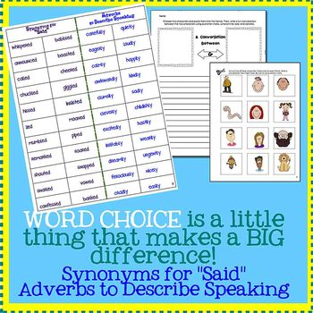 Word Choice & Writing Dialogue - Using Synonyms, Adverbs, & Quotation Marks