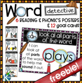 FREE Word Detective Phonics & Reading Strategy Posters and Goal Cards