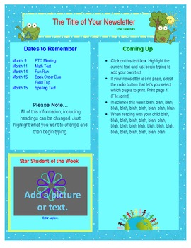 FREE Word Earth Day Newsletter Template - Spring