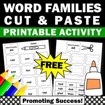 FREE Word Families Activities, Word Work, Word Family Worksheets Kindergarten