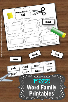 FREE Word Families Kindergarten or 1st Grade Worksheets, Reading ...