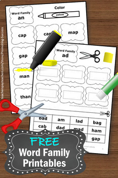 FREE Word Families Kindergarten or 1st Grade Worksheets, Phonics Activities