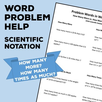 Scientific Notation Word Problem Help