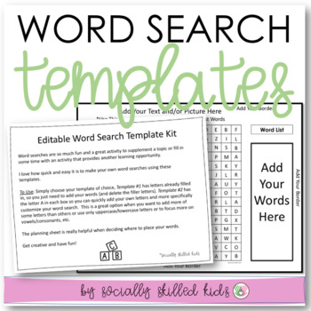FREE!  Word Search Template: EDITABLE