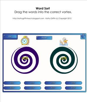 FREE Word Sort Five Word Families for the Smart Board