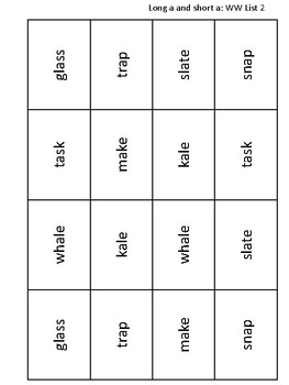 FREE Word Study Words Their Way Short and Long a Sort and Memory game