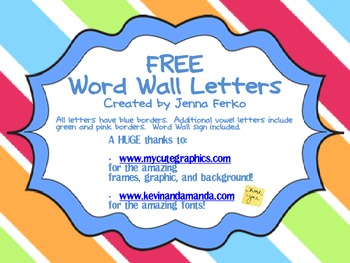 FREE Word Wall Letters and Sign