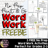 Word Work Activities for 2nd Grade 3rd Grade FREE