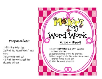 FREE Word Work Fun (Make a Word): Happy Mother's Day!