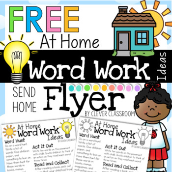 FREE Word Work Ideas Take Home Flyer