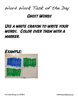 Word Work - 20 Tasks for ANY word list