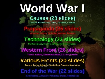 FREE! World War One Unit Structured Notes (6 pages)