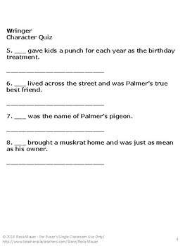FREE Wringer Characters Quiz