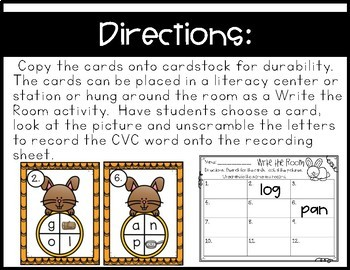 FREE~ Write the Room~ Unscramble and Record CVC Words