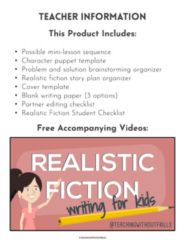 FREE! Writer's Workshop Character Puppet Template for Narrative Writing