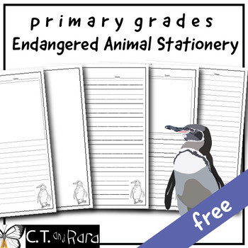 Writing Paper Stationery | Galapagos Penguin | Primary | Dashed Line | Wide FREE
