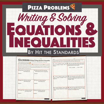 Writing & Solving Equations & Inequalities Pizza Problems.