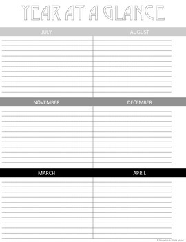 FREE Year at a Glance Calendar Printable