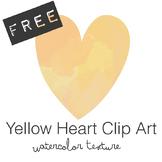 FREE Yellow Watercolor Heart Clip Art