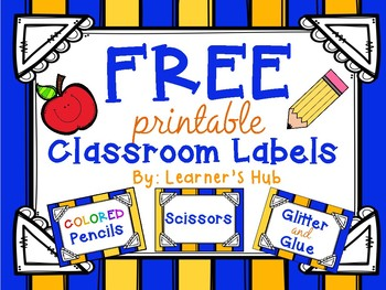 FREE! Yellow and Blue Stripes Classroom Labels
