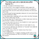 """FREE """"You know you are a special education teacher if…."""" POSTER"""