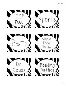 FREE Zebra Print Theme DRA-RAZ Library/Book Labels