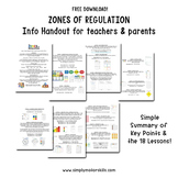 FREE - Zones of Regulation Info Handout for teachers, ther