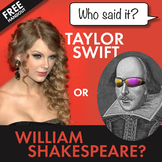 FREE and Fun Shakespeare Supplement, William Shakespeare or Taylor Swift?