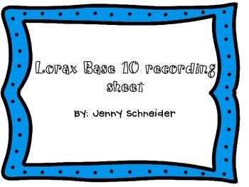 FREE base 10 lorax recording sheet