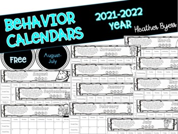 FREE behavior clip chart calendars
