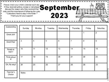 FREE behavior clip chart calendars