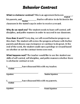 graphic regarding Behavior Contract Printable named Habits Contracts Essential Worksheets Training