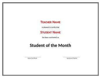 FREE : blank certificate template for Students - classroom
