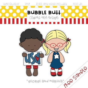 """FREE clip art Sample - """"George and Martha"""" - by Bubble Butt clip art and design"""