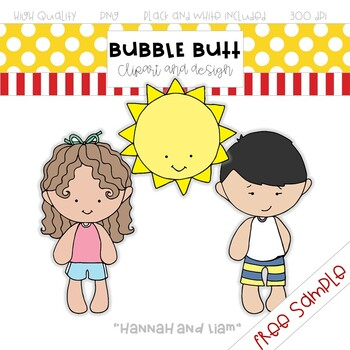 """FREE clip art sample   """"Hannah and Liam""""  by Bubble Butt clipart and design"""