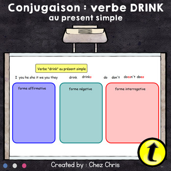"""FREE: conjugation of """"drink"""" (Simple Present) - Interactive workspace activity"""