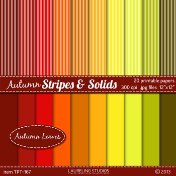 FREE digital paper stripes and solids in fall colors