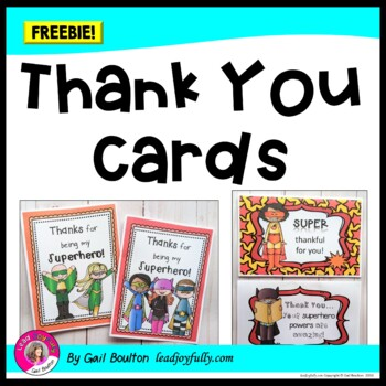 FREE download! 2 Superhero Thank You Cards