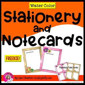 FREE download! Water Color Stationery with Matching Notecards