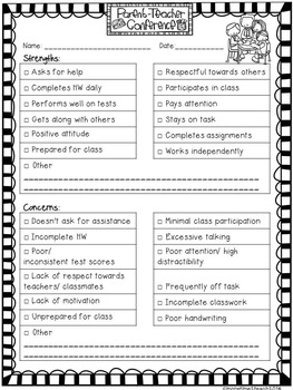 Free editable parent teacher conference form by more for Parent teacher meeting report template