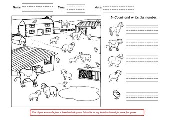 FREE farm animals worksheet