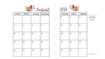 Free Floral Monthly Calendar Template By Teachingmarigolds Tpt
