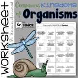 Kingdoms of Organisms Worksheet for Review or Assessment